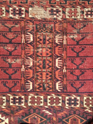 """Classic Tekke ensi. Nice purply red ground color. very soft handle. 5'3"""" x 4'1"""""""