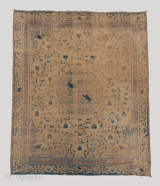 """A rare 17th century Chinese carpet measuring 10'10"""" x 9'. Battered but still retaining much of it's majesty. Dragons galore!!  Please visit our website for more rare carpet and textile art : www.bbolour.com  ..."""