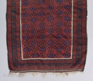 """A stately Timuri prayer rug. Great moody color palette, especially the blue. Very good condition. All original. 3'11"""" x 3'.   Please visit our website for more collectible Baluch rugs : https://www.bbolour.com/all-tribal-and-village-rugs/baluch-rug-3"""