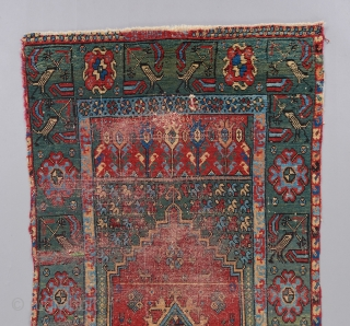 An early Morrocan Rabat rug. Circa 1800. A very rare example of a rare group. While most pieces in this group contain a hodge podge of elements from different traditions, the design  ...