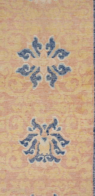 Lovely circa 1800 Ningxia runner that has been reduced in length, as many of these are. One entire end border as well as the other end's outer stripe border was rewoven. Very  ...