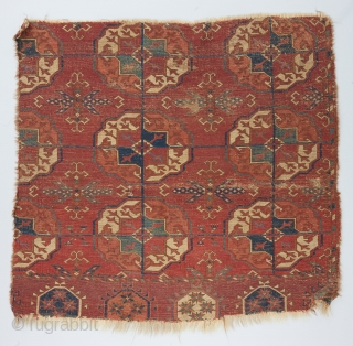 "Early Tekke main carpet fragment with exceptional color, wool and weave. 2'8"" x 2'6""