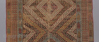 """Super funky Caucasian long rug with very good age, at least mid 19th. Very soft handle and lose weave. 9'6"""" x 4'6.   Visit our website for more rare collectible woven art :  ..."""