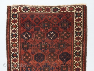 "Fine Baluch rug with Kurbaghe gols and an interesting white ground border. 5'4"" x 2'11"".