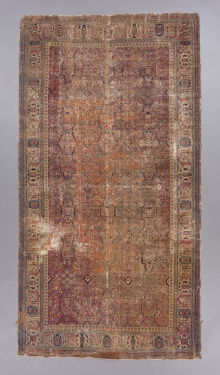 "17th century Joshogan carpet with an arabesque/garden design field. Heavy wear, old repairs and all, but the beauty remains. Check out that inner minor border too!! 9'4"" x 4'11. 