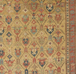 An early 19th century Caucasian rug. Elegantly executed field design with a gorgeous color palette. Nice pile at the bottom and heavily worn at the top as can be seen. A couple  ...