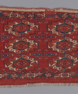 "Tekke torba. Very fine weave. Great carnation red color. 3'6"" x 1'6""."