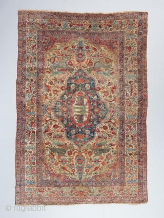 """An early, spectacular Silk Kerman.  An almost surrealist piece of art. Early 19th century or earlier. All original. 6'2"""" x 4'2""""."""