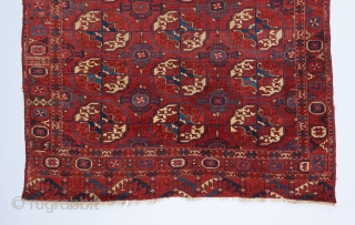 "Tekke wedding rug. Early one of it's type.  Fine weave, supple handle and velvety wool. Interesting border elements. The Kurbaghe secondary gol is rare for Tekke rugs in this format. 5'2""  ..."