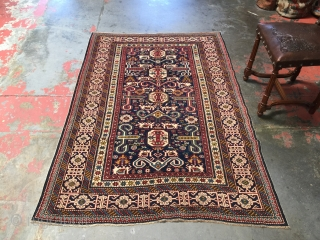 Antique Caucasian Shirvan Kuba Perpedil rug. Size: 4'0 x 5'10 Age: 1890-1900. Nice example of this well documented type. Soft tones of navy blue, sea green, carmine, yellow gold, white, coffee, french  ...