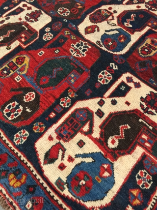 Rare Khamseh tribal rug from Southwest Iran, Fars province. Size: 4'1 x 5'9. Age: c.1900. Lustrous handspun wool pile, naturally dyed, on an all wool foundation. Excellent condition overall with some scattered  ...