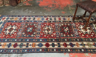 Antique Caucasian Kuba Lesghi Star rug. Superb colors, wool, and weave. Size: 3'10 x 8'5. Age: 1890-1910. Structure: Handspun wool pile on wool warps with wool wefts. Condition: Excellent condition with rich  ...