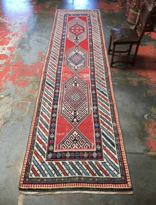 Rare Northwest Persian runner, 3'6 x 14'0, dated 1297 (1881). Superb natural dyes and wool. It is a stunning rug, with some wear, ready to use and enjoy.  Please contact me  ...