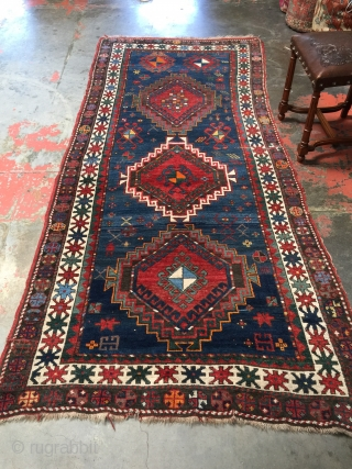 Antique Caucasian Kazak rug c.1900. Size: 4'0 x 8'8. Handspun wool pile on wool warps with wool wefts. Excellent condition overall with glossy pile and small areas of lower pile and wear.  ...