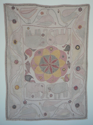 Antique Indian Kantha Embroidery Quilt from the West Bengal region of India or Bangladesh. 63 x 43 inches. This is a wonderful, large, and lively quilt, heavily embroidered, in great condition, with  ...