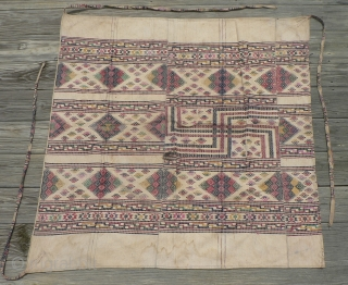 "Old Textile from Bhutan, known as kushu bundri, used as a cloth for wrapping and carrying things, functioning like a backpack bundle. 46 x 46 inches. In the book, ""From the Land  ..."