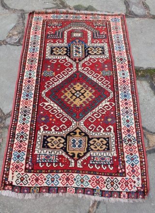 Antique Caucasian Rug with prayer mihrab design. Excellent pile and lovely colors. Displays well. Minor losses at each end. Fairly heavy. 60 x 35 inches. See more textiles at http://banjaratextiles.com/