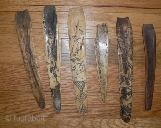 Antique Naga Bone Hair Pins. Some are carved on both sides.