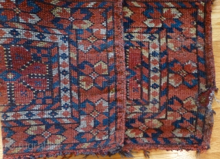 Antique Central Asian torba. Ersari Beshir? Uzbek? 34 x 16 inches. Low  pile. 
