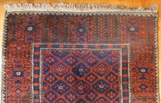 Rare Old Baluch Runner. 154 x 46 inches (12.5 feet x 4 ft approx). It's rare to find an old Baluch in this runner format. Attractive design in very good 