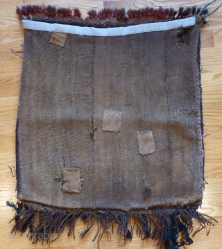 Old Kirghiz bag, with back. 24 x 22 inches. Good thick pile. Red knotted fringe at one end was added later. Interesting Central Asian bag. Velcro hanging strip sewn to back, which  ...
