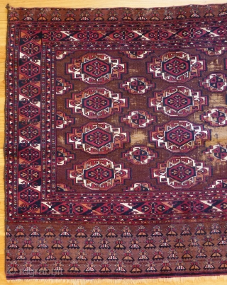Fine Antique Saryk Chuval. 45 x 36 inches. Beautiful colors. Obvious wear in the center. Floppy handle. www.banjaratextiles.com