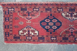 Attractive Antique Turkmen Ersari or Yomut Long Panel. Floppy handle. Low pile. Edge loss on one side.  70 x 16 inches. www.banjaratextiles.com