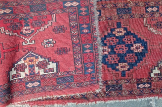 Attractive Antique Turkmen Ersari or Yomut Long Panel. Floppy handle. Low pile. Edge loss on one side.  70 x 16 inches.