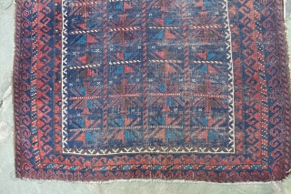 Antique Baluch Prayer Rug. 43 x 36  inches. Square-ish format. Beautiful rug and colors. Low pile. Small losses to edges and ends.