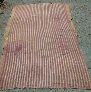 """Antique Bhutanese Fabric. Antique supplemental warp handloom-woven fabric from Bhutan,fine cotton. The book, From the Land of the Thunder Dragon says these fabrics are """"a time honored gift for many Bhutanese occasions,""""  ..."""