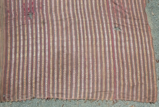 "Antique Bhutanese Fabric. Antique supplemental warp handloom-woven fabric from Bhutan,fine cotton. The book, From the Land of the Thunder Dragon says these fabrics are ""a time honored gift for many Bhutanese occasions,""  ..."