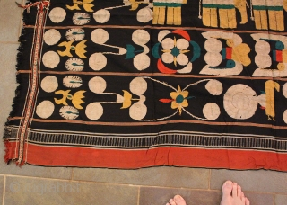 Antique Naga Man's Shawl from Manipur region India. 72 x 48 inches. The textile is handloomed cotton with a black, red, yellow and ivory strips. The weave has a tight fine weave  ...