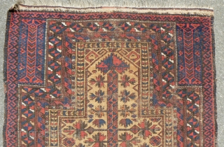 "Antique Baluch Prayer Rug. 31 x 45 inches. 19th Century. See Michael Craycraft's ""Belouch Prayer Rugs,"" plate 24 page 58 for a similar example. Low even pile and wear. See more textiles  ..."