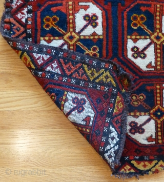 Old Uzbek bag face. 26 x 26 inches. Thick meaty pile. Minor loss around the bottom and top edges. More rugs, trappings and textiles at www.banjaratextiles.com