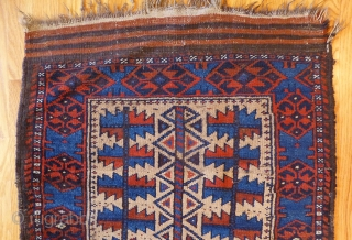 Antique Baluch Rug. 42 x 28 inches. Very good condition. Very nice popping electric blue dye. Great visual appeal. See this rug and lots of others just added at www.banjaratextiles.com