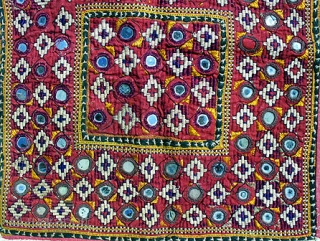 Old Banjara or Thar desert Indian textile square, perhaps used as a pillow cover or a square coverlet. Approximately 22 x 22 inches. The outer border is old applique work of white  ...