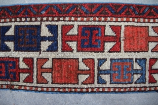 Bordure of a antique rug about 1860 or earlier, central Anatolia may be round the area of Konya, wool on wool. vegetable colours, size 2,22 x 0,22 m