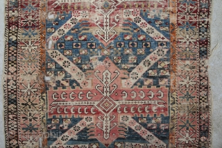 shirvan fragment caucasus about 1900 or earlier, wool on wool, very seldom design, size 1,18 x 0,99 m