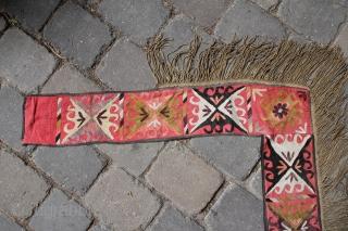 Usbekistan silk embroidery around 1900 Silk on cotton fabric Size:  90x85x17cm