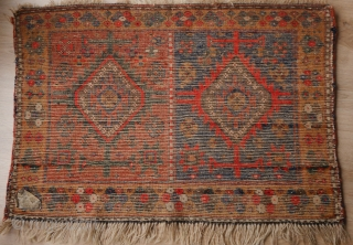 Kurdish mafrash in very good condition, wonderful deep intense colours, natural with one synthetic red. Soft and shiny wool. 59 x 90 cm.