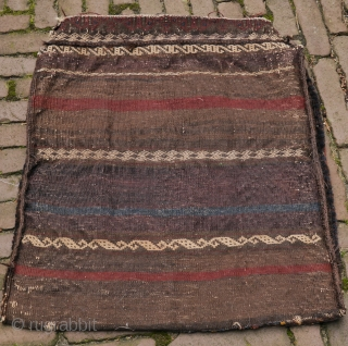 19th century Baluch bag with unusual border, carefuly made, natural deep colors, some silk fibres with aniline dye.No repairs, no tears, some corrosion, a solid bag or pillow