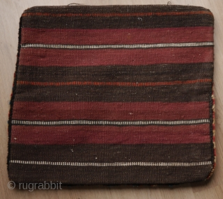 Unusual bag, Qashqai and gabbeh like with a striking pattern.  backside is not original. 53 x 48 cm.