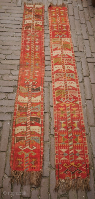 Khirgiz pile tent band fragments, colourful with fascinating graphics, wool.  160 x 20,5 cm.  €125 for the pair, €75 each