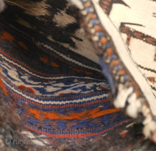 interesting saltbag, prob. Shahsevan,but could also be an Afshar namakdan.  colours partly natural, wool on wool, 48 x 36 cm.