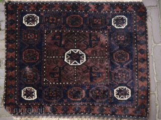 Very fine Baluch star medallion bagface in fine weave and excellent wool. Minor wear, some corrosion, and a few old repairs (not visible on the front) beautiful aubergine, blue and brown with  ...