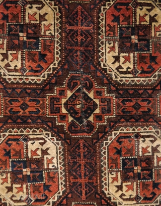 Fine Baluch rug with Turkmen güls, beautiful colours, condition is good with all borders intact, minor wear, but a small repair in the middle, where there has been a cut.Clean and handwashed. 1.85  ...