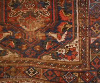Khamseh rug with phantastic natural colours, in used condition, but very charming,