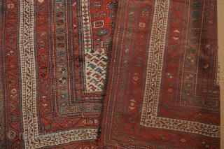 Special offer: Luri Kurdish rug in excellent condition, around 1900, natural colours, no wear or restaurations or damage. Brocaded kilim ends intact. 
