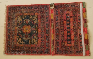 rare Khotan bag face, so called corn bag, from a German collection, 1870 - 1900, with certificat (by Werner Bäumer) 84 x 52 cm.