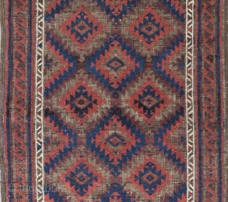 """Super small old Baluch. Brown corroded to foundation, but everything else is full Pile. Great Color and Wool.  Approx 30"""" x 58"""". The main listing picture is most accurate for color. The  ..."""